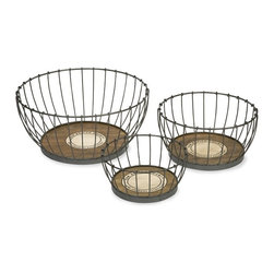 "IMAX - Benito Wood and Metal Baskets - Set of 3 - This set ofeethr  Benito grape picking baskets with the Wine Growers Association emblem of San Benito county are made from recycled wood and wire frames and come in a set ofeethr  sizes. This is a beautiful set that is great to have for a variety of uses. Item Dimensions: (6.25-8.50-10.25""h x 13.25-16.25-22""d)"