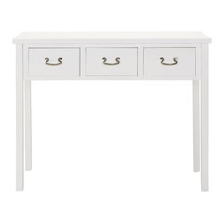 Safavieh - Cindy Console - White - The Cindy console, with slightly tapered legs, just right white finish and three drawers for stashing, has a basic, easy-going appeal. Perfect for country, beachy or casual settings, the console is crafted from poplar wood. Minor assembly required.