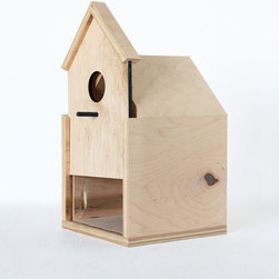 Modern Birdhouse with Sliding Front Door by Oh Dier - This modern birdhouse made with untreated wood would be a quirky detail on the wall of your living room. Or place it in the garden for a serene home for your feathered friends.