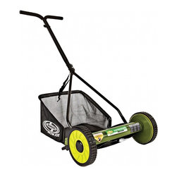 "Snow Joe - 16"" Manual Reel Mower - Sun Joe Mow Joe 16"" Manual Reel Mower with Catcher for small to medium lawns, 16"" cutting width, tailor cutting heights up to 1.81"" deep, 4 steel blades, 6.6 gallon grass catcher capacity, 4-position manual height adjustment, compact design and easy to assemble, comfortable foam grip, weight: 22 pounds."
