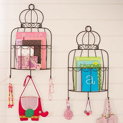 Birdcage Magazine Rack - I just love it when form meets function. These birdcage-style magazine racks do dual purpose by turning a decorative element into something that is also perfectly useful.