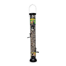 """Droll Yankees - 6 Port Sunflower Mixed Seed - Droll Yankees 2.75"""" diameter 24"""" tube 6 port Sunflower/Mixed Seed Feeder with removable base. Fully assembled. Gloss black with silver perch accents. Clever clean removable base line"""