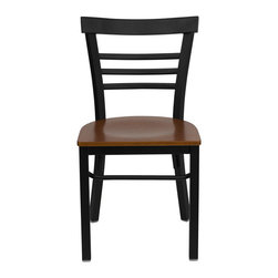 """Flash Furniture - HERCULES Series Black Ladder Back Metal Restaurant Chair - Cherry Wood Seat - Provide your customers with the ultimate dining experience by offering great food, service and attractive furnishings. This heavy duty commercial metal chair is ideal for Restaurants, Hotels, Bars, Lounges, and in the Home. Whether you are setting up a new facility or in need of a upgrade this attractive chair will complement any environment. This metal chair is lightweight and will make it easy to move around. This easy to clean chair will complement any environment to fill the void in your decor.; Heavy Duty Metal Restaurant Chair; Ladder Style Back; .75"""" Thick Plywood Seat; Cherry Finished Wood Seat; 18 Gauge Steel Frame; Welded Joint Assembly; Curved Support Bar; Black Powder Coated Frame Finish; Plastic Floor Glides; Designed for Commercial Use; Suitable for Home Use; Assembly Required: Yes; Country of Origin: China; Warranty: 2 Years; Weight: 24 lbs.; Dimensions: 31.75""""H x 16""""W x 19.5""""D"""