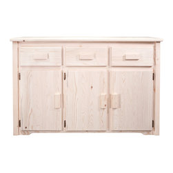 """Montana Woodworks - Homestead Sideboard, Ready To Finish - From Montana Woodworks, the largest manufacturer of handcrafted, heirloom quality rustic furnishings in America comes the Homestead Collection line of furniture products. Handcrafted in the mountains of Montana using solid, American grown wood, the artisans rough saw all the timbers and accessory trim pieces for a look uniquely reminiscent of the timber-framed homes once found on the American frontier. This quality sideboard is designed to withstand decades of daily use. Truly an heirloom quality item. Use the sideboard in your kitchen or dining room to serve food or display your fine serving dishes. Three raised panel doors conceal a large storage area measuring approximately 50"""" W x 18"""" D x 20"""" H. The sturdy fixed wooden shelf in the storage area measures 50"""" W x 18"""" D x 3/4"""" thick and is centered in the storage area, allowing approximately 10"""" of space above and below the shelf. Each of the three drawers measure 11"""" W x 17"""" D x 5"""" H. Comes fully assembled. 20-year limited warranty included at no additional charge.; Hand Crafted in Montana U.S.A.; Solid, U.S. grown genuine lodge pole pine wood; Timbers and Trim Pieces are Sawn Square for Rustic Timber Frame / Barn wood Design Appearance; Heirloom Quality; 20 Year Limited Warranty; Durable Build, Fit and Finish; Each Piece Signed By The Artisan Who Makes It; Solid Wood, Edge Glued Panels; Easy Glide Drawer Slides and Quality Hinges; Weight: 150 lbs; Dimensions: 55""""W x 21""""D x 36""""H"""