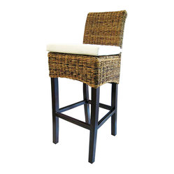 Four Hands - Banana Leaf Barstool With Cushion, Natural - Give your favorite casual setting a touch of the tropics with this cool counter stool. The seat of woven banana leaf makes a striking alternative to wicker and sits on an abaca wood frame with a simple canvas cushion.