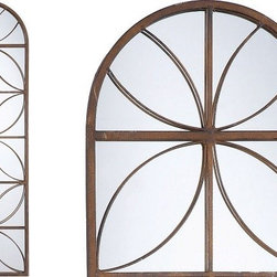Metal Framed Arched Window Mirror -