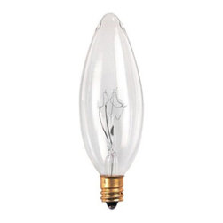 Bulbrite - Bulbrite Clear Torpedo B10 Candelabra Base Incandescent Light Bulb - 32 pk. Mult - Shop for Light bulbs from Hayneedle.com! The Bulbrite Clear Torpedo B10 Candelabra Base Incandescent Light Bulb - 32 pk adds the finishing touch to any chandelier or fixture. Each incandescent light bulb within this 32 pack provides a clean light that enhances your home decor surroundings.About BulbriteBulbrite is a family-owned company started in 1971 and based in Moonachie New Jersey. Bulbrite is renowned for their commitment to innovation education and service. They are a leading manufacturer and supplier of innovative energy-efficient light source solutions. Bulbrite is an award-winning company. Most recently their president Cathy Choi received the 2010 Residential Lighting Industry Leadership Award and the Bulbrite Swytch LED Desk Lamp received the 2010 Home Furnishing News Award of Excellence. They have introduced award-winning products and offer an extensive line of light bulbs including LEDs HID compact fluorescents fluorescents halogens krypton/xenon incandescent bulbs and specialty lamps. Bulbrite is an active member of the ZHAGA the American Lighting Association a silver sustaining member of the Illuminating Engineering Society of North American (IESNA) an Energy Star Partner a Lighting Facts LED Product Partner a member of LUMEN Coalition and a member of the International Dark Sky Association.