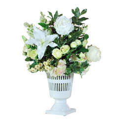 Jane Seymour Botanicals - Vermeil Urn Mixed Centerpiece - Freshen your traditional home with a floral arrangement that will never go out of style or out of season. This permanent floral display contains lilies, roses and hydrangeas in soft shades of white, surrounded by lush greenery. An elegant centerpiece for your formal dining room.