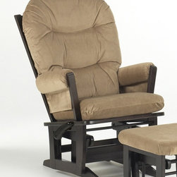 Dutailier - Multipositional Modern Reclining Glider Chair in Espresso Finish (Light Brown) - Fabric: Light Brown. Ottoman not included. Exclusive glide system. Top quality sealed ball bearings. Multi position mechanism allows to stop the glider at the desired position. Reclining mechanism allow backrest to fully adjustable. Removable foam cushions and padded arms. Easy care micro fiber fabric. Frame made from hardwood. Minimal assembly required. Made in Canada. 31 in. W x 26.5 in. D x 42.5 in. HThis Modern glider offers an exceptionally smooth and extra long glide motion with thick cushions and padded arms. The combination of its contemporary design and espresso finish will add value to any room. There are no sharp edges, the finish is toxic free and this product meets all safety standards.