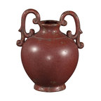"""Howard Elliott - Howard Elliott Aged Red Glaze Ceramic Urn with Handles - Aged Red Glaze w/Rustic Accents Ceramic Urn with Handles. The high-style design and high-end materials in the urns are what set Howard Elliott apart from the competition. Howard Elliott's innovative product line is carefully designed and packaged to ensure low damage rates for their high quality and custom items. Finish/Frame/Fabric Description: Aged Red Glaze. Material: Ceramic. Product Dimensions: 10"""" x 9"""" x 13""""."""