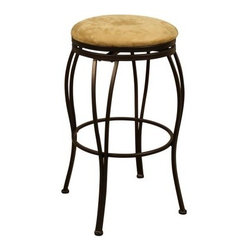 AHB Padova Bar Stool - The perfect addition to your kitchen counter or home bar, the Padova Bar Stool makes an impression in any setting with its clean lines and casual, yet elegant design. Boasting a three-inch Camel microfiber seat, this stool will envelop you in comfort as you dine, entertain, or unwind, while the 360 degree swivel feature will ensure you'll always have the best seat in the house. Plus, the convenient, full-ring footrest will make getting in and out of the stool a breeze and the adjustable floor glides will ensure stability on any surface. Fully-welded, heavy-duty steel construction makes this stool sturdy enough to withstand anything your active lifestyle throws your way. Not only does the attractive, powder-coated Cocoa finish create a protective surface, it also beautifully coordinates with most settings. As fetching as it is functional, this handsome bar stool is just what you need to create countless fun memories with family and friends. Additional features: Backless design with elegantly flared legs Full-ring footrest for easy getting in and out Adjustable floor glides for stability on uneven surfaces Minor assembly required Each item of entertainment furniture is meticulously designed and engineered to withstand the test of time, utilizing old-fashioned wood joinery methods. The vast majority of our metal products have welded joints to provide a lifetime of carefree service. Please note: This item is not intended for commercial use. Warranty applies to residential use only.