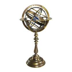 Authentic Models - 18th Century Bronze Universe Model - The Armillary shows the Ptolemaic vision of the universe with the Earth at the center and all of the stars and planets orbiting around. Great to display this piece as your desk accessory in your home or office! Representing the same spheres used to chart the universe centuries ago, it is a classical decoration and fine antique. Made of bronze  Stand is bronze  Colors include blue and bronze  Stands 14.50 inches tall and is 7.50 inches in diameter.