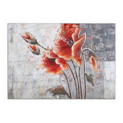 Uttermost - Poetic Flowers Framed Art - Add color and grace to your favorite setting with this vivid hand-painted floral artwork. Note how the unframed canvas brings fresh-off-the-easel appeal.