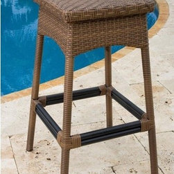 "Hospitality Rattan - Grenada Short Bar Stool - Features: -All-weather wicker armless barstool. -Constructed of an aluminum frame wrapped in woven viro fiber. -Viro fiber antique finish. -Weather and UV resistant. -No assembly required. -Matching dining group and seating group available. -Can be used indoors or outdoors. -Stackable design helpful in commercial settings. -Overall dimensions: 30"" H x 19"" W x 19"" D."
