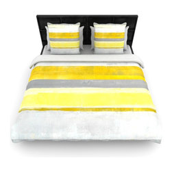 "Kess InHouse - CarolLynn Tice ""Lemon"" Yellow Gray Woven Duvet Cover (King, 104"" x 88"") - Add a splash of artistically inclined comfort to the average down comforter with a large focus to your bed! Our duvet cover is made of a beautifully crafted woven polyester fabric on top and a comforting and soft cotton/poly blend on bottom! We highly recommend washing your artwork before laying it onto your bed for added comfort and softness! These are totally machine washable and won't fade!"
