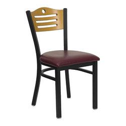 Flash Furniture - Hercules Heavy Duty Restaurant Chair w Slat B - Slat back style. 2.5 in. thick 1.4 density foam padded seat. Curved support bar. Plastic floor glides. Warranty: 2 year limited. 16 gauge steel frame. Black powder coat frame finish. Minimal assembly required. Back: 16.5 in. W x 14.5 in. H. Seat: 16.75 in. W x 16.5 in. D. Seat Height: 19 in. H. Overall: 16.75 in. W x 21.5 in. D x 32.75 in. H (30 lbs.)