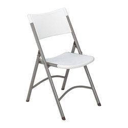 National Public Seating - Blow Molded Folding Chairs - Set of 4 - These Plastic Molded Resin Folding Chairs come in gray or white and feature a Powder Coated Frame in gray for outstanding durability. Designed to be top-quality, these chairs are stain & corrosion resistant and can stack up to 25 chairs high. This ANSI BIFMA approved blow molded resin plastic folding chair features a contoured back and seat for comfortable use. Easy handling and lightweight, they are high quality, stain and corrosion resistant and perfect for easy set-up and collapsing, outdoors or indoors. The textured powder coated frame in grey has two welded cross-braces for strength. * Set of 4. Lightweight. Contoured seat and back for comfort. Two cross braces for strength. 19-gauge steel with metal underbracing on seat for added durability. Steel contains 30-40% of post-consumer waste (recycled). Plastic contains up to 35% of pre-consumer waste. Meets ANSI and BIFMA standards. Warranty: Five years for material. White and gray colors. 18.75 in. W x 21.5 in. D in. 32 in. H