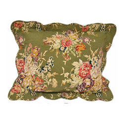 None - Colette Quilted Floral Pillows (Set of 2) - Improve the decor in the bedroom with these soft floral pillows. Tastefully designed with a sage green background and filled with soft polyester, its machine-washable covers are sewn out of natural cotton, reducing the risk of allergies.