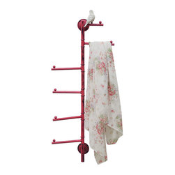 Bird's the Word Metal Jewelry & Towel Holder - Inspired by the beauty of the natural world, this metal jewelry tree and towel holder features a unique vintage design. Eye-catching in timeworn red finish, the piece is a stylish union of function and design. Whether you use it to display necklaces and bracelets, or use it to hold hand towels in the bath, the multifunctional piece is a useful addition to your dressing table and will display and store your items in style.
