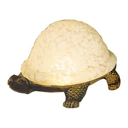 Meyda Tiffany - Meyda Tiffany Lamps Table Lamp in Tiffany Items - Shown in picture: Turtle Art Glass Accent Lamp; A Land Turtle Is Transformed Into A Charming Accent Lamp Featuring A Winter White Mottled Glass Shade That Rests On A Cast Metal Base.