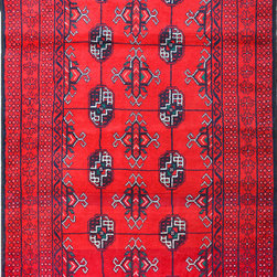 """ALRUG - Handmade Red Oriental Tribal Baluchi Rug 3' 7"""" x 6' 9"""" (ft) - This Afghan Baluchi design rug is hand-knotted with Wool on Wool."""