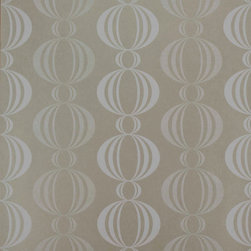 Kenneth James - Azhar Taupe Retro Orb Wallpaper - Revive your room in floor-to-ceiling retro style. This washable wallpaper features vertical rows of white ornamental orbs that brighten and fade across a tasteful taupe backdrop. The result is an oh-so-fab contemporary look for your dining room or kitchen walls.