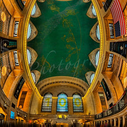 A Grand View - A Grand View ~ This vertical panorama shows a unique perspective of the main concourse of historic Grand Central Terminal in New York City.  This view shows the entire concourse from east to west including the beautiful depiction of the night sky painted across the ceiling, and the famous brass clock above the information booth.  Grand Central Terminal, rebuilt in 1913, is celebrating its 100th anniversary in 2013.©Susan Candelario SDC Photography all rights reserved