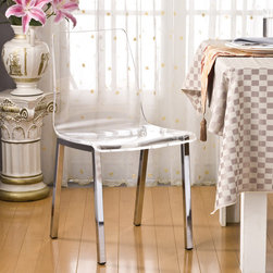 None - Pure Decor Clear Acrylic Dining Chair - Set of 2 - The Pure Decor acrylic dining chairs are a great contemporary option for any dining area. Sleek and sophisticated,these chairs will be a great addition to any home.