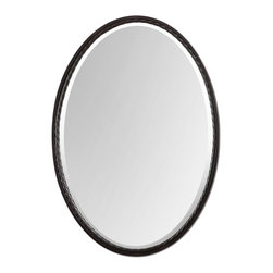 Uttermost - Uttermost Casalina Oil Rubbed Bronze Transitional Oval Mirror X-61110 - Oil rubbed bronze finish with twisted metal rope detail. Mirror is beveled.