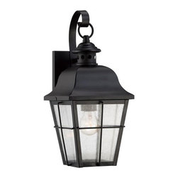 Quoizel - Millhouse 1-lt Outdoor Wall Lantern - With simple details and traditional style the Millhouse outdoor collection is perfect for understated elegant lighting. The design features clear seedy glass that diffuses the light in a soft tranquil way and the rich Mystic Black finish completes the look.