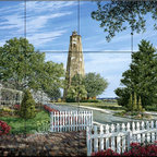 The Tile Mural Store (USA) - Tile Mural - Baldhead - Kitchen Backsplash Ideas - This beautiful artwork by William Mangum has been digitally reproduced for tiles and depicts the lighthouse at Baldhead which overlooks the Cape Fear river and the Atlantic Ocean from Smith Island in North Carolina.  Our lighthouse tile murals and nautical themed decorative tiles are perfect as part of your kitchen backsplash tile project or your tub and shower surround bathroom tile project. Lighthouse images on tiles add a unique element to your tiling project and are a great kitchen backsplash idea. Use a lighthouse scene tile mural for a wall tile project in any room in your home where you want to add interest to a plain field of wall tile.