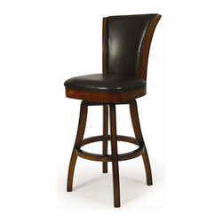 """Pastel Furniture - Pastel Furniture Glenwood 30 Inch Swivel Barstool in Brown - The Glenwood Barstool is a beautifully made barstool that has a simple yet elegant design that is perfect for any decor. An ideal way to add a classic flair to any dining or entertaining area in your home. This swivel barstool features a quality wood frame with sturdy legs and foot rest finished in Russet Cordovan. The padded seat is upholstered in Brown Leather offering comfort and style. Available in 26"""" counter or 30"""" bar height."""