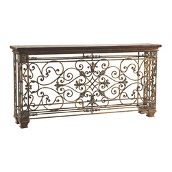Ambella Home - Rockefeller Large Console Table - This console table is the WOW! factor you're looking for. Detailed scrolling ironwork finished with rich copper overtones is sophisticated and refined. It will make everyone drool with envy. And isn't that the purpose of a WOW! factor?