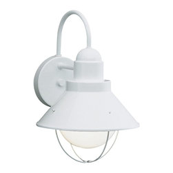 BUILDER - BUILDER Seaside Lodge/Country/Rustic/Garden Outdoor Wall Sconce X-HW2209 - The lantern shape of this Kichler Lighting outdoor wall sconce from the Seaside Collection features a delicate curved arm and cone shaped shade is accentuated and modernized by a clean, crisp White finish.