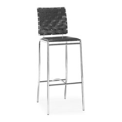 ZUO MODERN - Criss Cross Bar Chair Black (set of 2) - With three height choices, the Criss Cross works in any dcor setting, modern or transitional. It has leatherette back straps and a flat seat with a chrome steel tube frame.