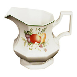 MBW Furniture - New English Milk Jug Server Creamer Ceramic Pitcher - This is a beautiful English new milk jug server pitcher or creamer. It has a lovely green edge on its top and it features a lovely handle with a gorgeous artwork of foliage, flowers and fruits on its side. It is made in England.