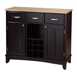 Home Styles - Buffet - The Home Styles Buffet is an essential piece of furniture designed to provide added storage and workspace for the kitchen and dining areas of the home. Measuring 36.25 high by 42 wide by 16.25 deep, the Home Styles Buffet is a good size for most kitchens. It has three utility drawers on metal drawer slides that can organize utensils, accessories, recipe cards and small linens. Two cabinets each have an adjustable shelf for larger pieces like tabletop appliances, pots and pans, mixing bowls and serving dishes. An open storage area provides a way to display your more decorative pieces of kitchen trimmings, while the open wine bottle storage bin can display up to nine standard bottles of vino. If youre not a wine aficionado, the storage cubbies are removable giving you even more room to store and display household items. The clever design is available in three classic finishes  black, white and cherry. Each unit is finished with a natural wood tabletop and brushed chrome hardware. Its solid wood and veneers construction includes a clear coat finish to help protect against wear and tear from normal use. The cabinet is equipped with adjustable floor levelers for added stability. It comes ready to assemble, and includes assembly instructions. Features: -Three utility drawers.-Two wood framed cabinet doors.-Removable center wine storage area.-Adjustable shelf behind the doors.-Hardwood construction.-Buffet or Buffets collection.-Collection: Buffet of Buffets.-Distressed: No.Dimensions: -Overall dimensions: 35.5'' H x 41.72'' W x 17'' D.