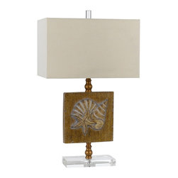 "Cal Lighting - Coastal Palmetto Coastal Table Lamp - Seashell table lamp. Saddle brown finish. Resin construction. Rectangular fabric shade. Crystal base. 3-way rotary switch. From the Cal Lighting Table Lamp collection. Maximum 150 watt or equivalent bulb (not included). Base measures 8 3/4"" wide 4 1/2"" deep. Shade measures 16"" wide and 10"" deep across the top and bottom 10"" high. 27 1/2"" high.     Seashell table lamp.  Saddle brown finish.  Resin construction.  Rectangular fabric shade.  Crystal base.  3-way rotary switch.  From the Cal Lighting Table Lamp collection.  Maximum 150 watt or equivalent bulb (not included).  Base measures 8 3/4"" wide 4 1/2"" deep.  Shade measures 16"" wide and 10"" deep across the top and bottom 10"" high.  27 1/2"" high."