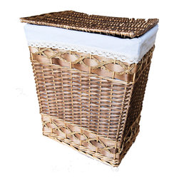 "Master Garden Products - Medium Willow Laundry Hamper, 15""L x 11""W x 19""H - Master Garden Products Handwoven Willow Laundry Hamper is designed to provide an earth-friendly way to store laundry. Made of natural materials, it is roomy enough to hold up to two loads of laundry. This woven laundry hamper is made of willow and wood chips. Willow is durable and when treated, can last for many years. This laundry hamper comes with removable linen fabric liners in white. The beautiful rich brown finish of this basket makes it a great addition to your bedroom, bathroom or laundry room. Our willow laundry hamper features a convenient flip-up lid that provides easy access while also concealing the hamper's contents"