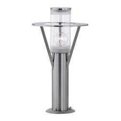 Eglo - Belfast - Outdoor Base Light by Eglo in Stainless steel and clear glass. modernize your patio, driveway or garden path with this stunning fixture. UL rated for a wet location (IP44).