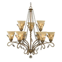 Golden Lighting - RG 9 9 Light Two Tier Up Light ChandelierBeau Jardin Collection - Golden Lighting's Beau Jardin Collection features an organic design inspired by the delicate beauty of a thriving garden.