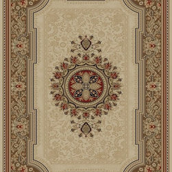 "Concord Global - Concord Global Ankara Chateau Ivory Country French Medallion 6'7"" x 9'6"" Rug (65 - The Ankara collection is made of heavy heat-set olefin and has the look and feel of an authentic hand made rug at a fraction of the cost. New additions to the line include transitional patterns that are up to date in the current fashion trend. Made in Turkey"