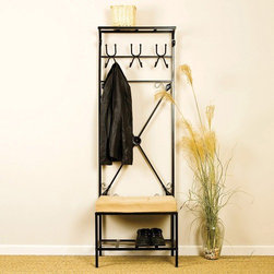 Wildon Home � - Rosston Entryway Hall Tree - Features: -6 Hooks to hang hats and coats.-3'' Foam cushion.-Metal construction.-Matte Black finish.-Distressed: No.Dimensions: -Lower shelf: 6'' H x 24'' W x 18'' D.-Top shelf: 72.5'' H x 24'' W x 8'' D.-Overall: 72.5'' H x 24'' W x 18'' D, 33 lbs.-Overall Product Weight: 33 lbs.