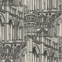 """Architectural Drawing AM8634 Wallpaper - Named """"Architectural Drawing,"""" this wallpaper is somewhat busy — but very elegant close up. If it feels like there is too much going on for your liking, I'd suggest using it on an accent wall with lighter furnishings and decor."""
