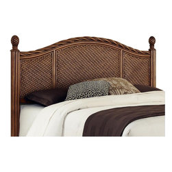 Home Styles - Home Styles Marco Island Queen/Full Headboard-Queen size - Home Styles - Headboards - 5544501 - Marco Island Headboard by Home Styles is island inspired displaying a rich blend of materials including Natural Rattan woven wicker, Mahogany solids, and veneers in a refined cinnamon finish. The design encompasses a twisted Rattan edging on the Headboard with intricate woven rattan panels, and solid mahogany bed posts with carved pineapple finials. This headboard will accommodate most Full and Queen Bed Frames. Headboard contains interior padding for additional comfort. Assembly required.