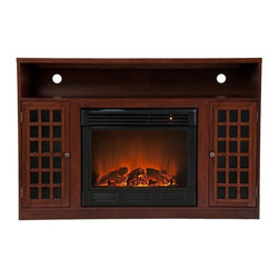 Southern Enterprises - Narita 32.5 in. Media Electric Fireplace - Modern conveniences and the relaxing glow of fire are all combined into this luxurious piece. Finished with a rich mahogany stain. Portability and ease of assembly are just two of the reasons why our fireplace mantels are perfect for your home. Requiring no electrician or contractor for installation allows instant remodeling without the usual mess or expense. Use this great functional fireplace to make your home a more welcoming environment.