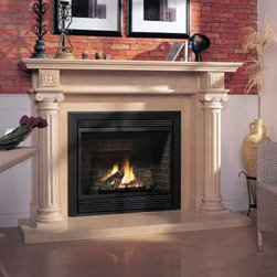 Marble Fireplace Mantels - Denbury - A traditional fireplace design, the Denbury has regal marble columns and scrolls to give your living room a Presidential finish.
