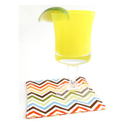 "Zig Zag Cloth Cocktail Napkins, Set of 4 - Unique, colorful zig zag print fabric cocktail napkins are small details that will make a big impression. These chic reversible cloth beverage napkins do double duty as drink coasters, protecting your delicate surfaces and are far more elegant & ""green"" than disposable paper napkins"