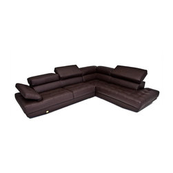 VIG Furniture - Principe Full Espresso Top Grain Leather Sectional Sofa With Adjustable Headrest - The Principe sectional sofa will add a elegant modern touch to any decor it's placed in. This sectional comes fully upholstered in a beautiful espresso top grain leather. High density foam is placed within the cushions for added comfort. The sectional features adjustable headrests and armrests that add that special touch of relaxation. Attached to the bottom are stainless steel leg supports with a polished finish.