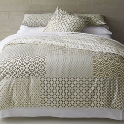 Sereno Hand-Blocked Duvet Cover - This duvet cover has a lot going on, but the geometric pieces in the nude colorway are a great way to add a punch to the bedroom.